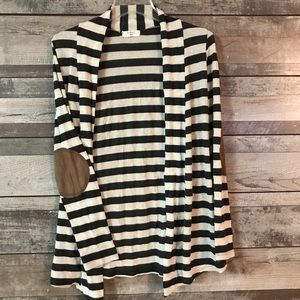 Always Me sweater black cream striped elbow patchs
